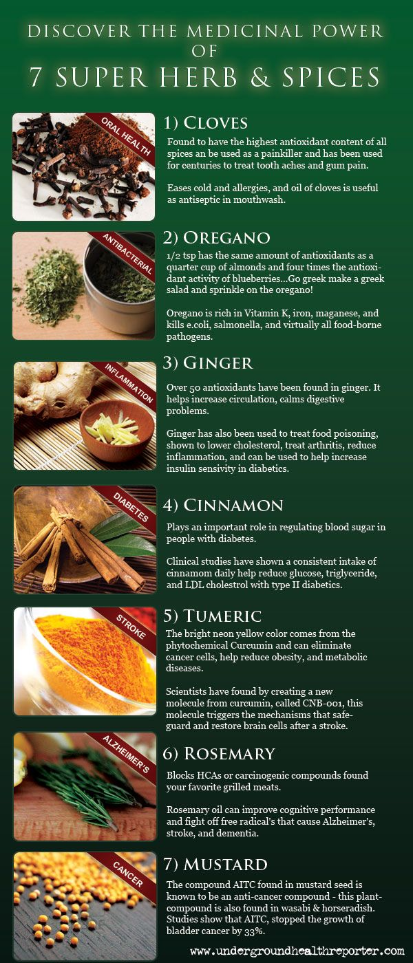 Seven Medicinal Herbs & Spices  - Great reference to pick which herbs you want to start growing for your health!