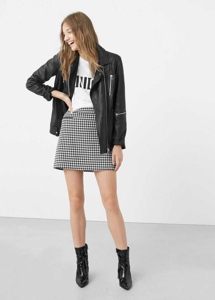 Olivia Houndstooth Skirt by Mango. Houndstooth High Waisted Mini.