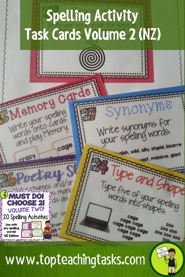These spelling activity task cards and Print and Go student worksheet timesavers will make your teacher life easier. They work with ANY spelling list - perfect for differentiated learning. Use as a literacy station activity, for morning bell work, homework, or as an early finisher resource. Use the Print and Go activity worksheets provided. Re-Use throughout the year. Build independent with the Must Do, Choose Two display.