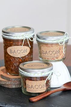 DIY Bacon gifts: bacon jam, bacon salt, and bacon candy - I would never eat this but I have some AVID BACON LOVERS in the family who would!!
