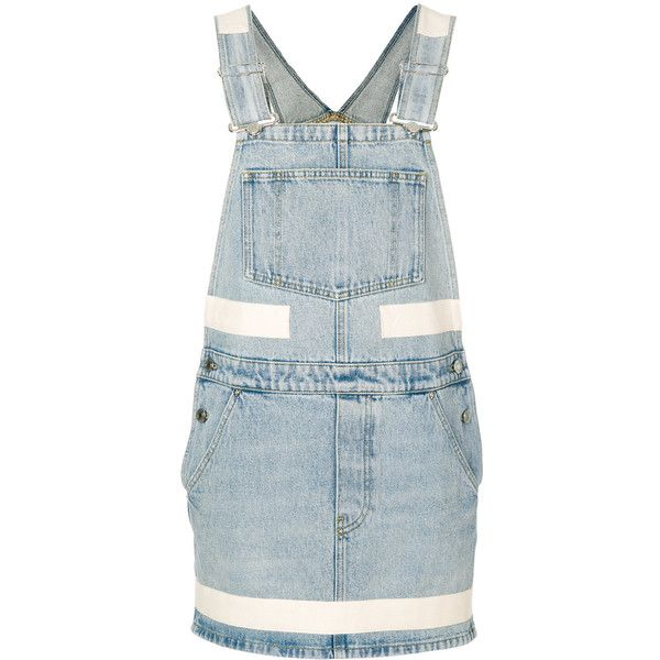Givenchy denim dungaree dress ($1,256) ❤ liked on Polyvore featuring dresses, blue, print dress, mixed print dress, blue print dress, blue color dress and pattern dress