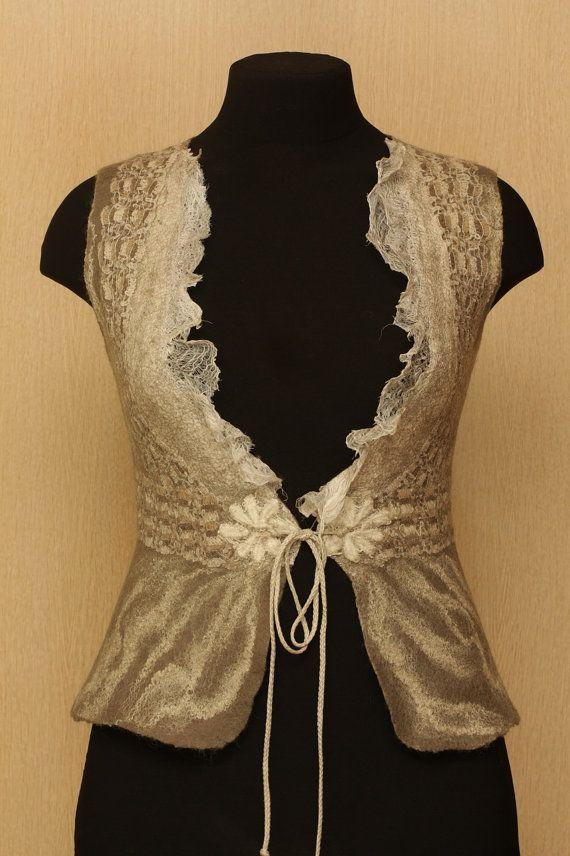 Cold Fire / Felted Clothing / Vest por LybaV en Etsy, $160.00