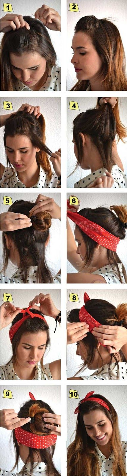 Yarım saç stili ile bandana bağlama
