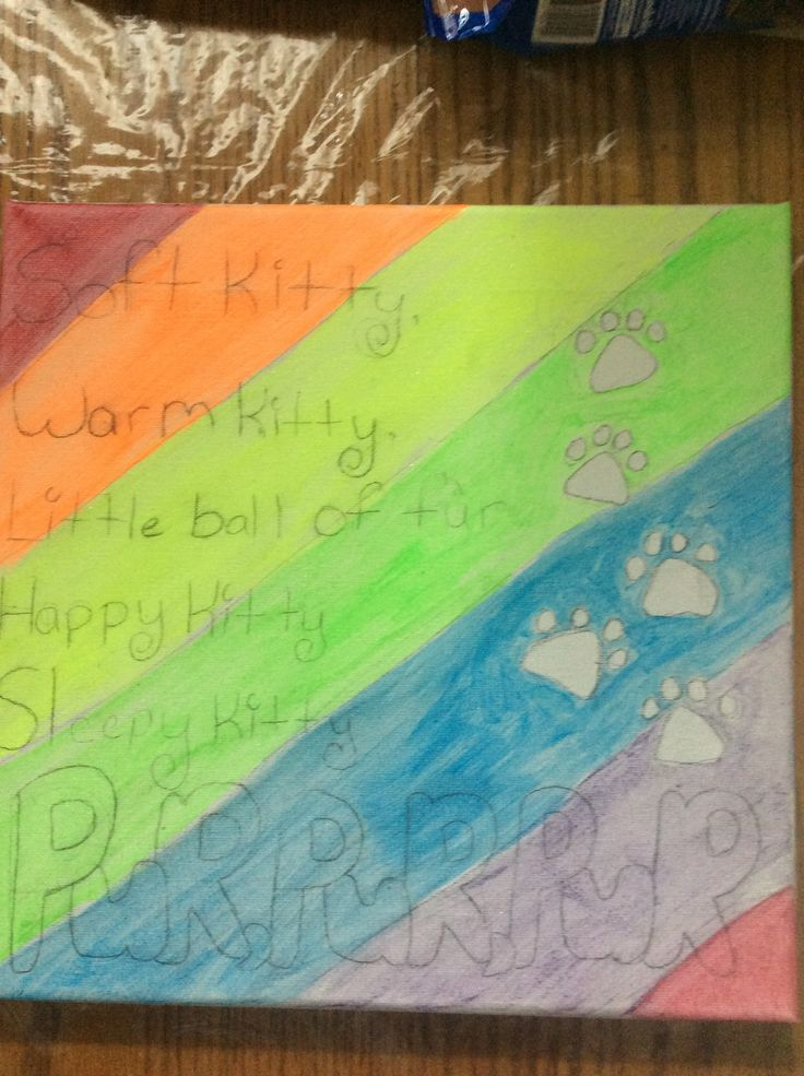 Still not finished* I added a rainbow :3 and I'm gunna put GLOW PAINT ON THE WORDS AND PAWS!?!?! :3