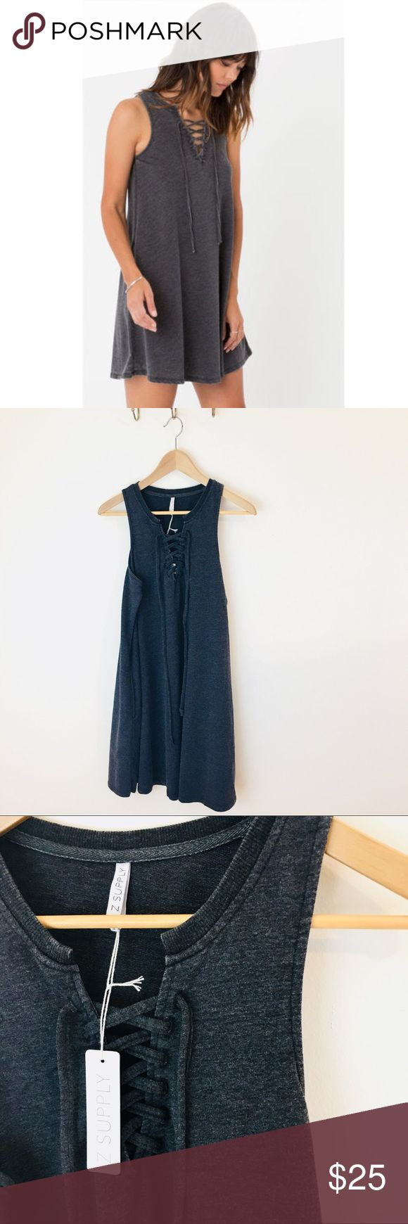 Z Supply All Tied Up Dress Dark grey jersey dress with lace up front, and pockets. NWT! A blogger fave. Z Supply Dresses Mini