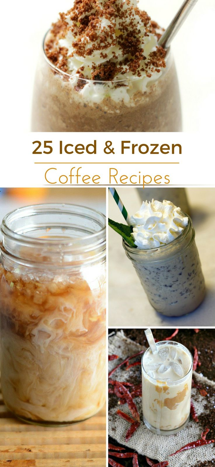 Here are 25 iced coffee recipes and frozen coffee drink recipes for your summer enjoyment! Expect frappuccinos, coffee cocktails and more!