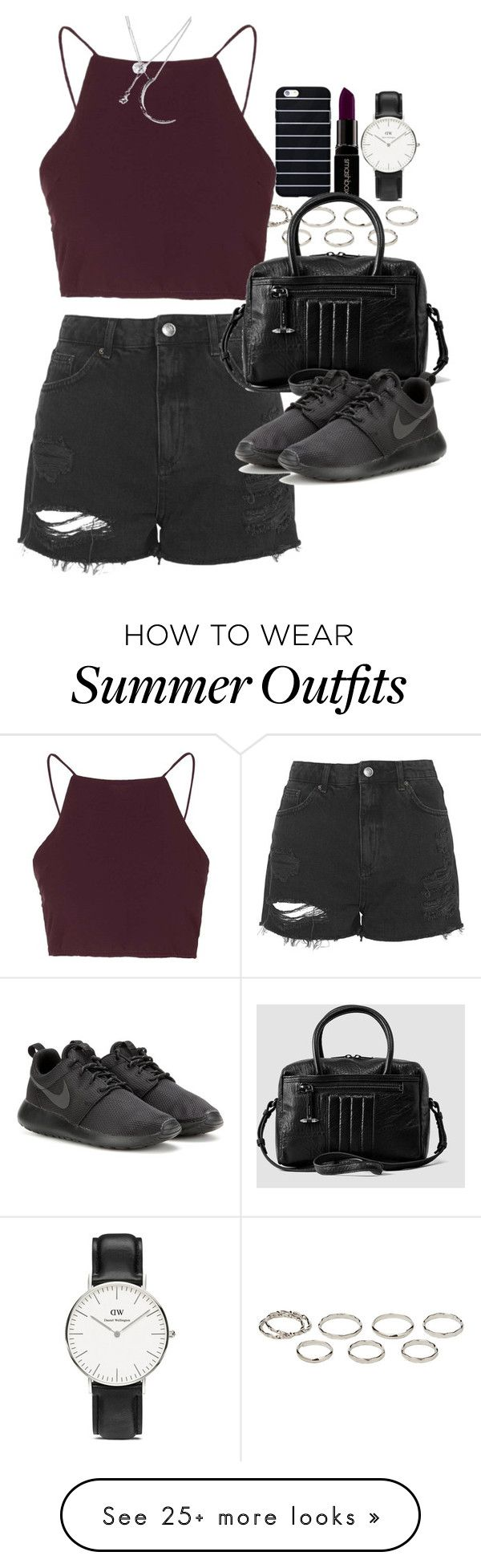 """Outfit for summer with shorts"" by ferned on Polyvore featuring Smashbox, Akira, Topshop, AllSaints, NIKE, Daniel Wellington and Forever 21"