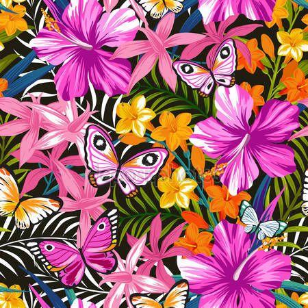 İndir - kelebekler ve çiçekler ile parlak deseni - illüstrasyon Stok # 79933330
