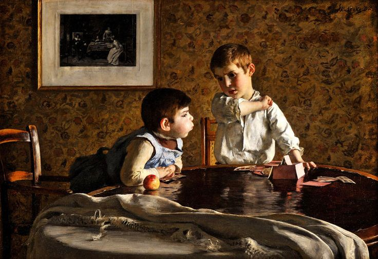 SKUTETZKY (SKUTECKÝ) DOMINIK (1849 - 1921) Domček z karát