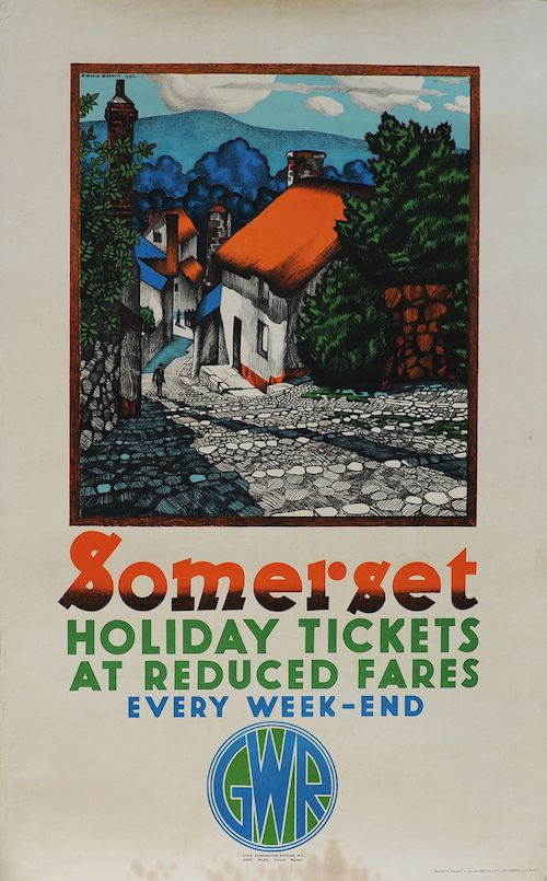 Poster GWR 'Somerset - Holiday Tickets at Reduced Fares' by D. Irwin Brown 1932, double royal 25in x 40in.
