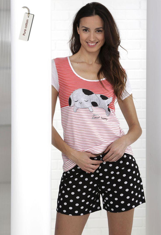 Pijama mujer. Short estampado topos. Camiseta con dibujo 'sleepy dog',  #massanahomewear #pijamas