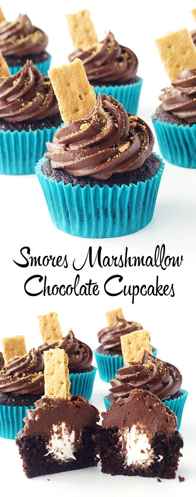 Smores Chocolate Cupcakes filled with homemade marshmallow fluff and topped with creamy chocolate buttercream.