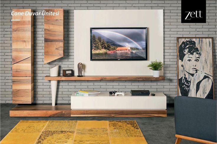 Ultra fonksiyonellik, eşsiz tasarım ve göz alıcı estetik; Cone Duvar Ünitesi. www.zettdekor.com