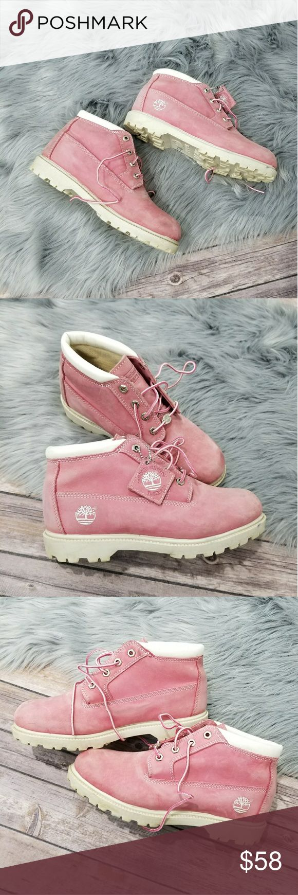 Timberland Pink Nellie Waterproof Chukka Boots Timberland Women's Nellie Waterproof Chukka Boots  Size 9.5 in really good used condition (See Pictures)  Premium full-grain waterproof leather uppers Direct-attach, seam-sealed waterproof construction. Padded collar Laces are made from 100% PET (recycled plastic bottles) Rustproof hardware Exclusive anti-fatigue midsole and removable footbeds. Mesh linings and footbed covers are made from recycled plastic bottles Rubber lug outsole for…