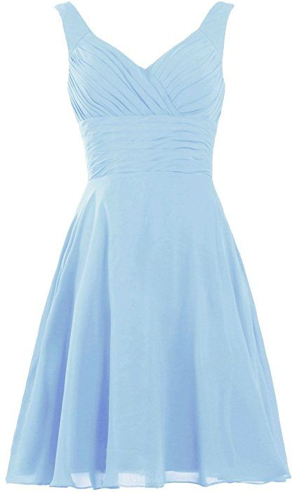ANTS Women's Pleated Sweetheart Bridesmaid Dresses A Line Cocktail Gown Size 2 US Baby Blue