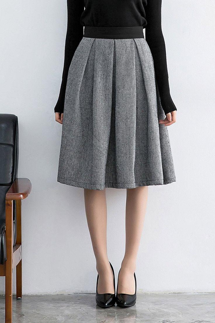 Dongzhouyali Black Pocket Flare Skirt | Skirts at DEZZAL