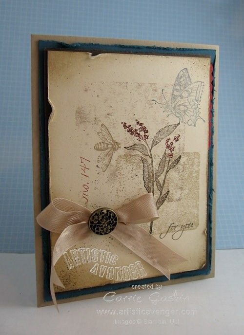 Ink acrylic blocks to stamp the background. Then add images in muted colors. Sponge ink in the corners. Distress the edges of the mats. Add embellishments and a sentiment.  By Carrie Gaskin.