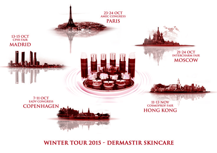 Winter Tour Dermastir #skincare 2015 : Congress and Fair Calendar  PARIS - MOSCOW - HONG KONG - COPENHAGEN - MADRID  For more info visit altacare.com