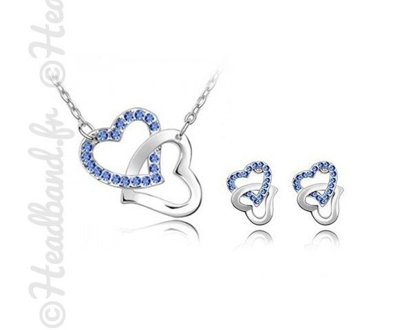 Set St Valentin cœur double bleu