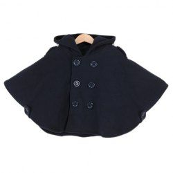 $12.35 Fashion Hooded Cape-Style Double Breasted Long Sleeves Polyester Coat For Kids