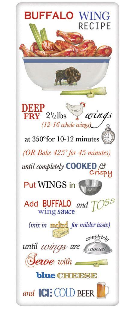 Buffalo Chicken Wings Recipe 100% Cotton Flour Sack Dish Towel Tea Towel