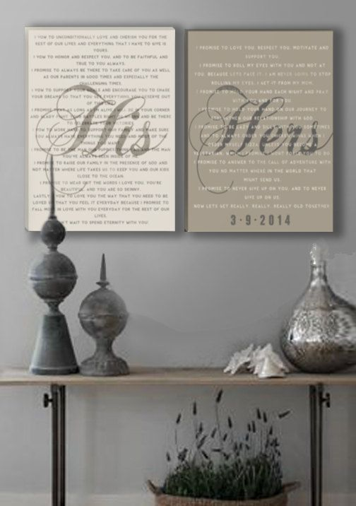 What a great way to display your wedding vows. Then you can always remember the promises you made and live by them! I like the addition of the date as well! Mr and Mrs wedding Vow Wall Art on Stretched by DesignerCanvases, $210.00
