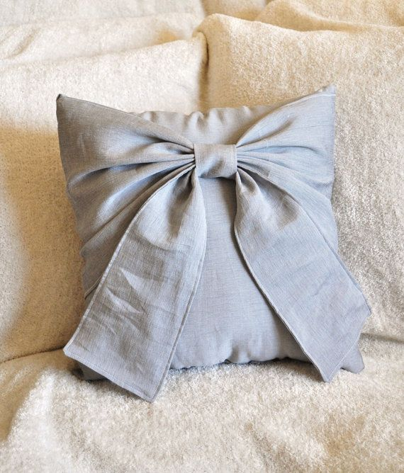 Gray Bow Pillow Decorative Throw Bow 14 x 14 Pillow by bedbuggs