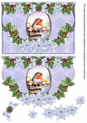 I have designed this sheet as a decoupage sheet, use 3D foam or silicone glue to build the layers up into a gorgeous vintage lace Christmas card front. The base image builds up using classic decoupage with lots of mistletoe. The image measures 5x7inches for your card fronts.