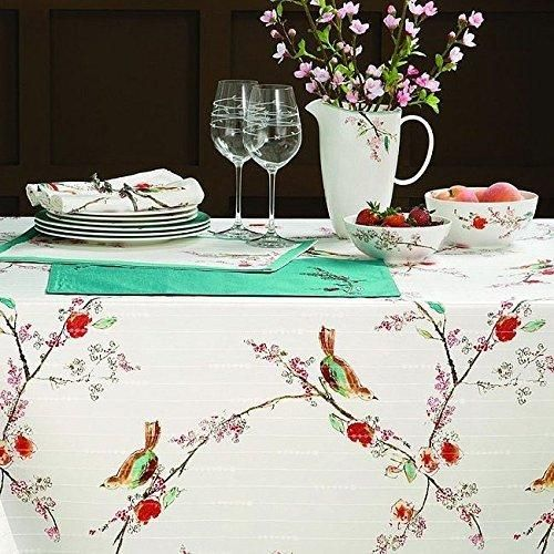 52 X 70 Color Floral Chirp Oblong Tablecloth Bird Tree Leaf Printed Springtime Motif Suble Flower Garden Themed Rectangle Medium Dining Table Cover White Red Brown Green Polyester