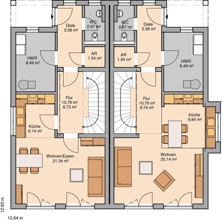 Kern-Haus Doppelhaus Linus Grundriss Erdgeschoss
