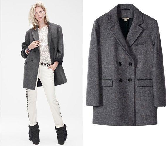 A francia tervezőre jellemző a férfias szabás, így ez a kabát is férfidarabnak tűnik elsőre.