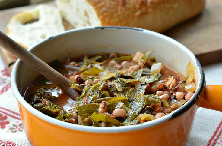 One of my favorite childhood recipes from @Three Many Cooks: Black-Eyed Pea and Collard Green Soup