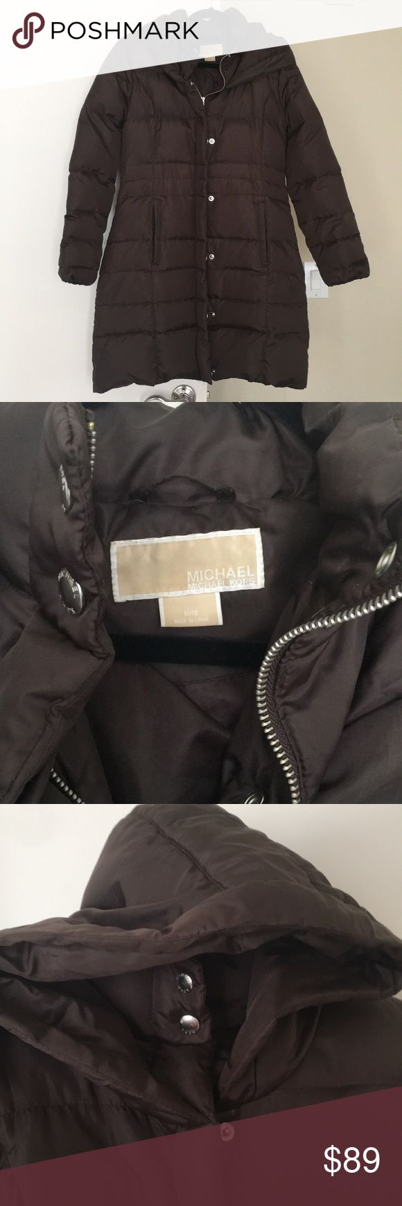 "Michael Kors Long Brown Hooded Puffer Coat Michael Kors long brown puffy quilted coat filled with 55% down. Hooded. Zip and snap closure. Two pockets. Silver hardware. Perfect cold weather jacket! Approx 2"" tear on seam of inner lining that is an easy fix (see pic) and another on the seam of inside of one pocket, but I can't sew! Size M. Michael Kors Jackets & Coats Puffers"