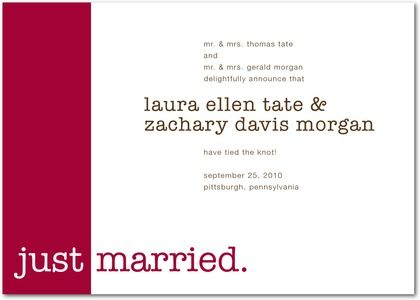 Signature White Wedding Announcements We Do - Front : Cabernet