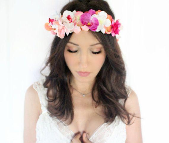 Mariage à destination, mariage de plage, orchidées, casque Tropical, casque Wedding, mariage bandeau, diadème, plage Headpice, plage Couronne