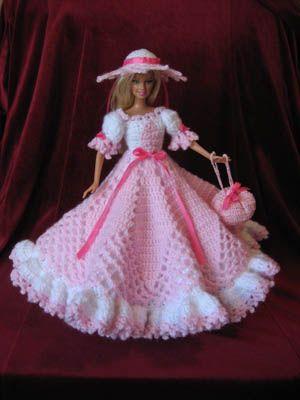 pas de tuto !!! Barbie crochet pink gown
