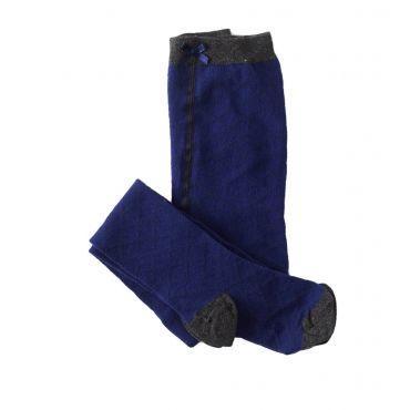Blauwe broekkousen met grijs ruitjespatroon - Mister Monkey and Misses Butterfly - Little Label - AW16 - Girls - Pantys - Pattern