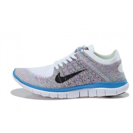 Nike Free Flyknit 4.0 Women Shoes White / black / sky blue / pink $66