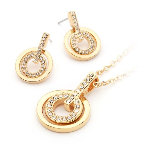 Concentric Circles Pendant & Earrings Set Gold Plated