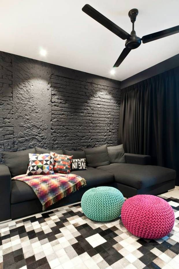 Less is More : Minimalism Inspiration : Striking black brick walls and pops of pink and teal