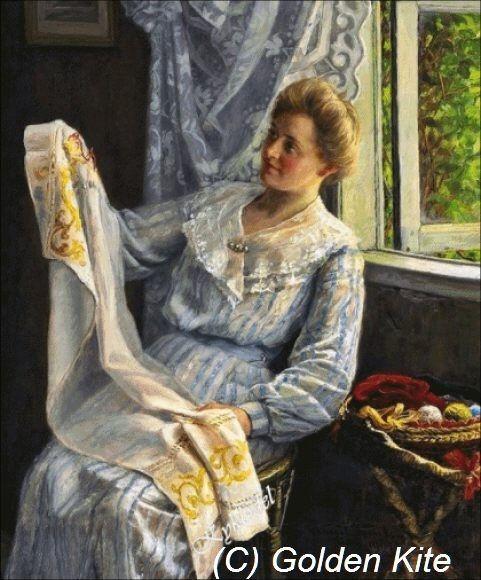 mujer joven en su costura