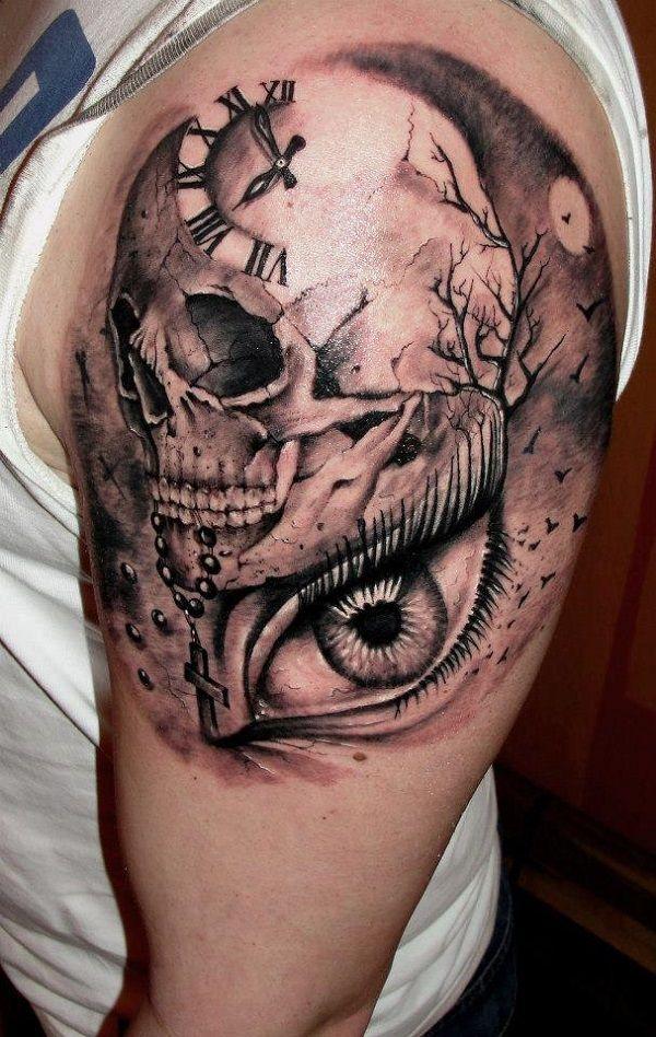 Skull Tattoos 50 - 80 Frightening and Meaningful Skull Tattoos   <3