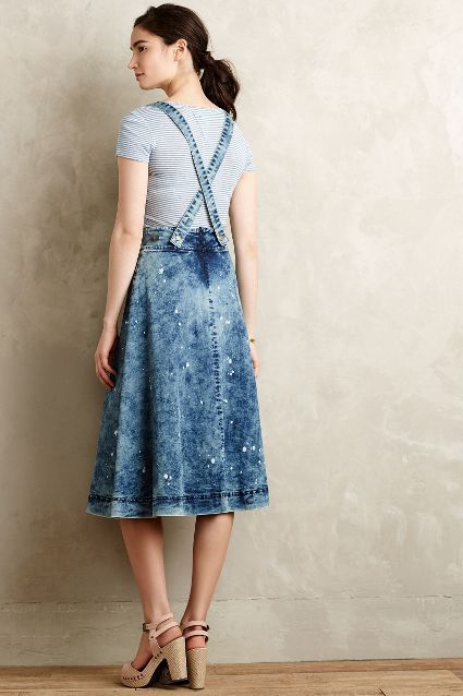 Splattered Denim Overall Skirt - anthropologie.com