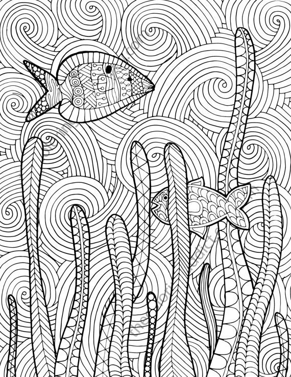 Zentangle Fish Adult Coloring Page Sheet Colouring