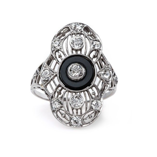 Edwardian Navette Ring with Onyx Accent | Upminster from Trumpet & Horn