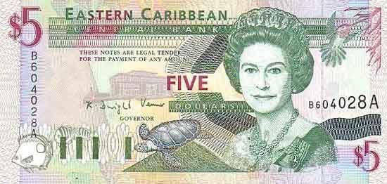 5 Долларов (1994-2000) Британские Виргинские острова (British Virgin Islands) Северная Америка
