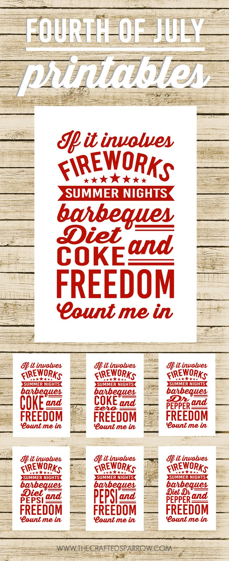 4th of July Printables - thecraftedsparrow.com