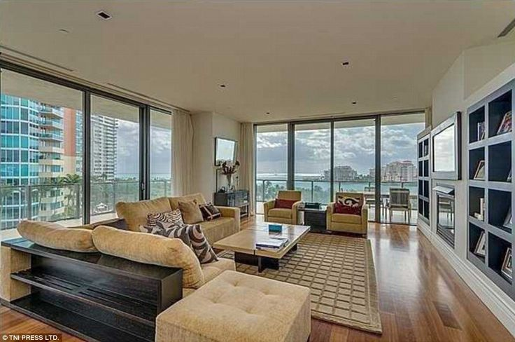 Living room: The rooms all benefit from spectacular views thanks to the floor to ceiling windows looking out on Miami