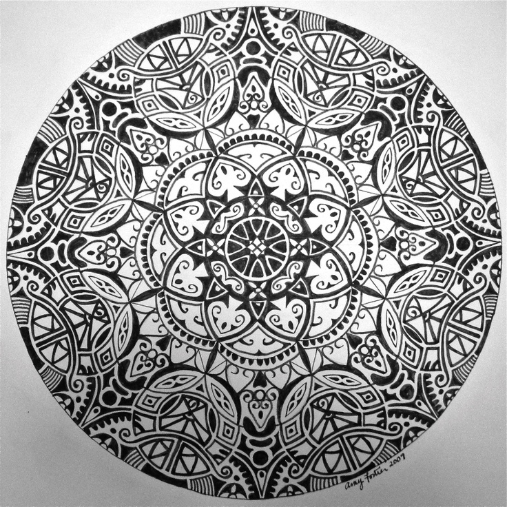 """Black and White Mandala #3"" Pen and ink in paper, 12 x 12 ..."