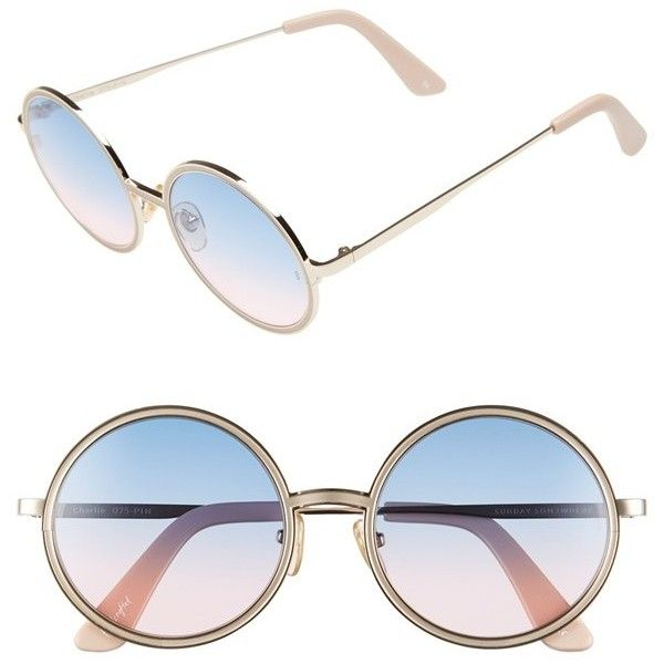 SUNDAY SOMEWHERE 'Charlie' 52mm Round Sunglasses (£205) ❤ liked on Polyvore featuring accessories, eyewear, sunglasses, round frame sunglasses, uv protection sunglasses, uv protection glasses, round metal frame glasses and metal-frame sunglasses